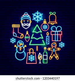 Christmas Neon Concept. Vector Illustration of Winter Holiday Promotion.