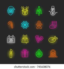 christmas neon icon set, vector design editable stroke