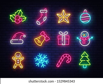 Christmas neon icons set. Happy Christmas collection light signs. Sign boards, light banner. Xmas Neon isolated icons, emblem, design template. Vector Illustration.
