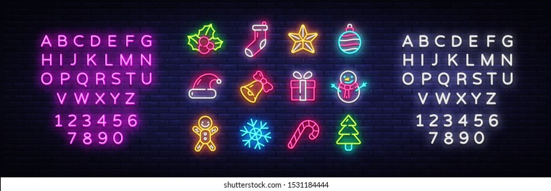 Christmas neon icons set. Happy Christmas collection light signs. Sign boards, light banner. Xmas Neon isolated icons, emblem, design template. Vector Illustration. Editing text neon sign.