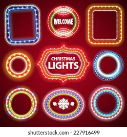 Christmas Neon Lights Frames with a Copy Space Set2 for Casino or Christmas Design. Used pattern brushes included.