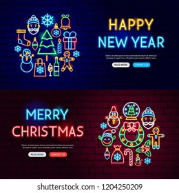 Christmas Neon Website Banners. Vector Illustration of Winter Holiday Promotion.