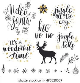 Christmas and New Year 2017 lettering and decorative elements collection. Vector illustration set for greeting cards, tags, posters, web, print. Deer, snowflakes, toys, bells and christmas quote set