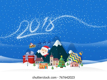 Christmas and New Year 2018 blue background. Santa Claus and small town. Figures in the form of snowflakes. Design for new year greeting card, flyer, invitation, banner. Snow landscape.
