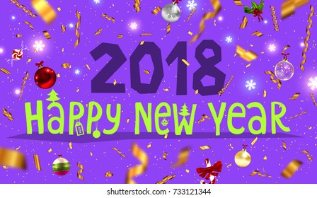 Christmas and New Year 2018 decorations | Greeting card vector template | Gold foil confetti, ribbons and glitter | Holiday illustration for posters, placards, banners and flyers