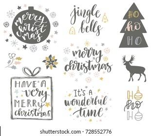 Christmas and New Year 2018 lettering and decorative elements collection. Vector illustration set for greeting cards, tags, posters, web, print. Deer, snowflakes, toys, bells and christmas quote set