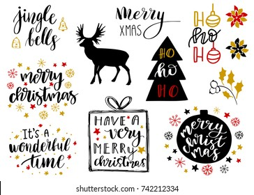 Christmas and New Year 2018 lettering and decorative elements collection. Vector illustration set for greeting cards, tags, posters, web, print. Deer, snowflakes, toys, bells and christmas quotes set
