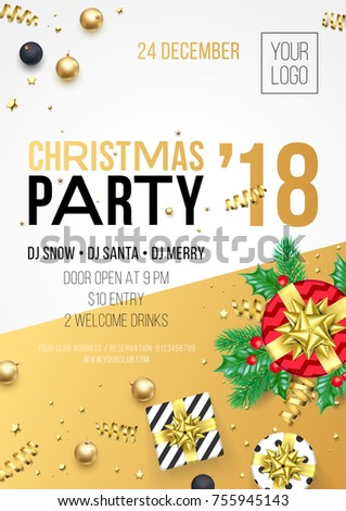 christmas new year 2018 party invitation poster design for winter holiday celebration vector 24