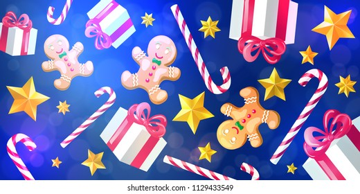 Christmas and New Year 2019 background. Gifts, gold stars, Christmas striped candy canes and gingerbread on blue background.