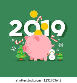 Christmas New Year 2019 vector illustration with flat design emoji snowman, celebration trees, snowflakes, candys, coins falling into a cartoon piggy bank character.