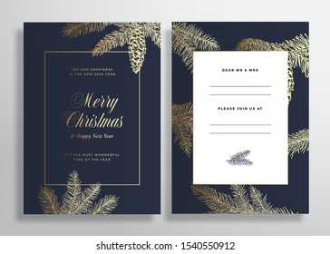 Christmas and New Year Abstract Vector Greeting Card, Poster or Background. Back and Front Invitation Design Layout with Classy Typography. Sketch Pine Branches, Strobile. Golden Gradient Invitation.