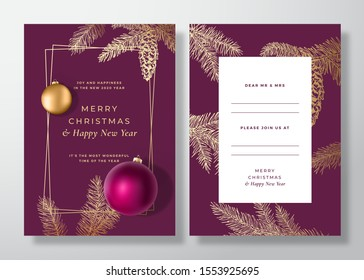 Christmas and New Year Abstract Vector Greeting Card, Poster or Background. Back and Front Design Layout with Classy Typography. Sketch Pine Branches, Strobile. Purple Realistic Toy Balls Invitation.