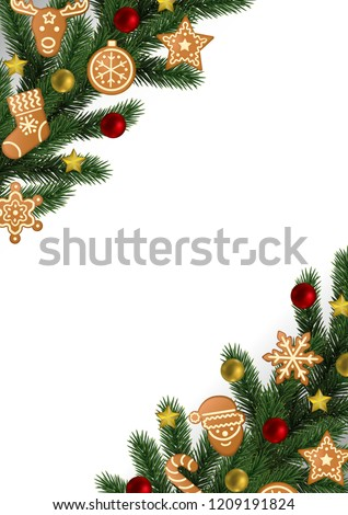 Christmas New Year Angular Border Gingerbread Stock Vector Royalty