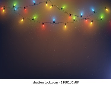 Christmas and New Year background with colorful led lights garland, vector illustration