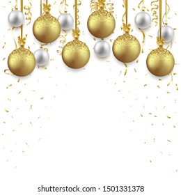Christmas and New Year background decorated with shiny balls and confetti, vector illustration