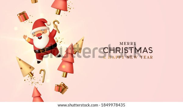 Christmas and New Year background. Falling gift box realistic character 3d santa claus. Conical Abstract Gold Christmas Trees. Xmas Winter holiday composition. Greeting card, banner, web poster.