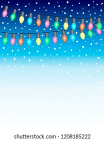 Christmas and New Year Background with Garland eletric bulb Lights and Falling Snow balls on blue white gradien background. EPS10 Vector Illustration