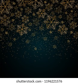 Christmas New Year background with gold snowflakes and glitter Blue festive winter background Christmas and New Year pattern of gold snowflakes Design element template holiday theme Vector