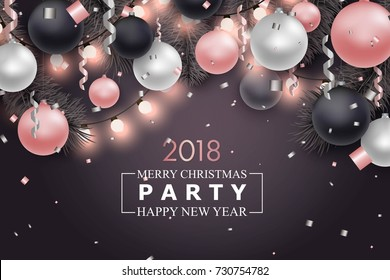 Christmas and New Year background for holiday greeting card, invitation, party flyer, poster, banner. Silver, pink and black ball, confetti, string gsrlsnd on black background.