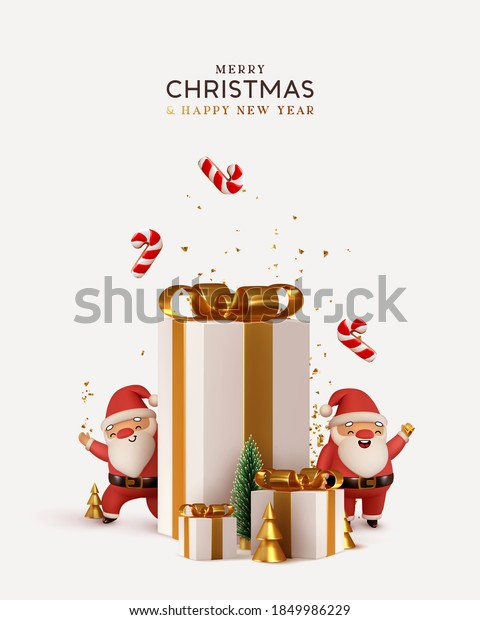 Christmas and New Year background. Pile gift box realistic 3d santa claus. Xmas pine fir lush tree. Conical Abstract Gold Christmas Trees. Winter holiday composition. Greeting card, banner, web poster