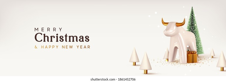 Christmas and New Year background. Porcelain white bull symbol of 2021. Xmas pine fir lush tree. Conical Abstract Christmas Trees. Bright Winter holiday composition. Greeting card, banner, web poster.