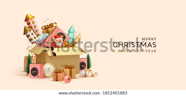 Christmas and New Year background with realistic gifts box and fireworks. Xmas decoration holiday 3d objects. Festive gift card, banner, poster. vector illustration