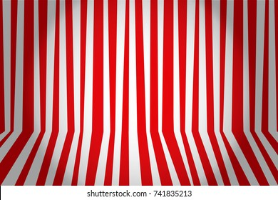 Christmas and new year background striped room in red and white. Vector illustration.