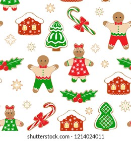 Christmas and New year background with Christmas tree, caramel, man cookies and house. Seamless pattern. Packaging design, wrapping paper, Wallpaper, poster. In isolation. Vector illustration