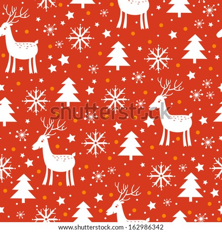 christmas and new year background with tree deer and snowflakes in red colors