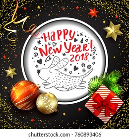 christmas and new year background vector card with realistic fir tree balls and decorations