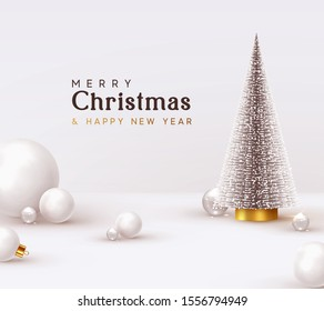 Christmas and New Year background. Xmas pine fir lush tree. White glass balls, transparent round 3d spheres, render illustration. Bright Winter holiday composition. Greeting card, banner, poster