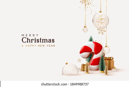 Christmas and New Year background. Xmas pine fir lush tree. Candy cane from cookies, golden gifts box. Glass Balls hanging on ribbon. Bright Winter holiday composition. Greeting card, banner, poster - Shutterstock ID 1849988737
