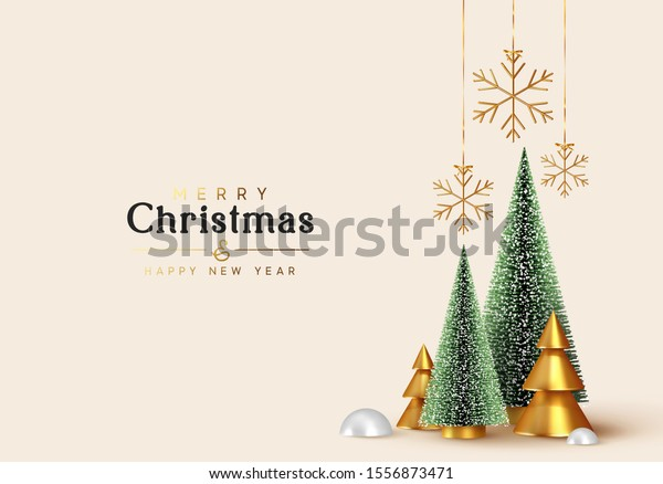 Christmas and New Year background. Xmas pine fir lush tree. Conical Abstract Gold Christmas Trees. Snowflakes hanging on ribbon. Bright Winter holiday composition. Greeting card, banner, poster
