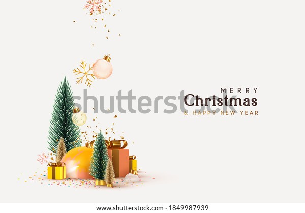 Christmas and New Year background. Xmas pine fir lush tree. Gold and green Christmas Trees. Snowflakes fall with bauble balls and confetti. Gift box and snow. Bright Winter holiday composition.
