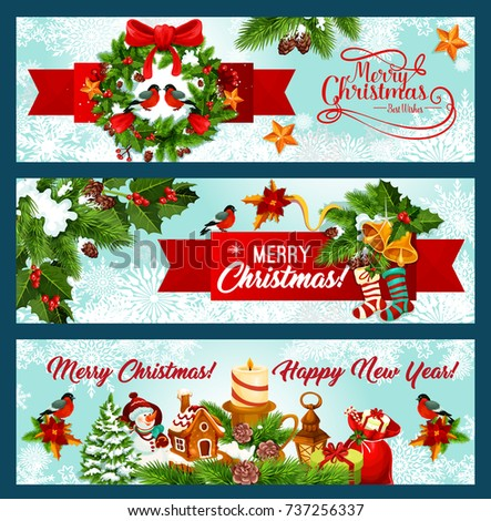 christmas and new year banner border with xmas tree wreath and red ribbon pine and