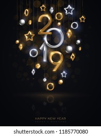 Christmas and New Year banner with hanging gold and silver 3d baubles and 2019 numbers on black background. Vector illustration. Winter holiday geometric decorations