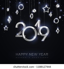 Christmas and New Year banner with hanging silver 3d baubles and 2019 numbers on black background. Vector illustration. Winter holiday geometric decorations.