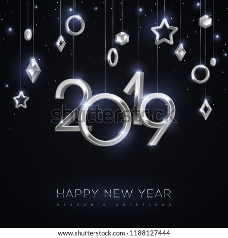 christmas and new year banner with hanging silver 3d baubles and 2019 numbers on black background