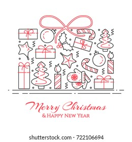 christmas and new year banner with outline holiday related elements collected in form of present box