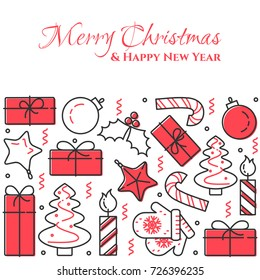 christmas and new year banner with outline holiday related elements collected in form of horizontal ractangle