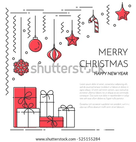 christmas and new year banner with outline holiday related elements and symbols isolated on white background