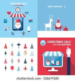 christmas new year banner set santa claus shopping seasonal sale