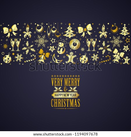 christmas and new year banner with snowflake champagne tree bauble icons isolated