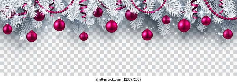 Christmas and New Year banner with white fir branches and pink Christmas balls on transparent backdrop. Festive design. Vector background.