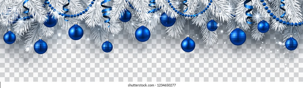 Christmas and New Year banner with white fir branches and blue Christmas balls on transparent backdrop. Festive design. Vector background.