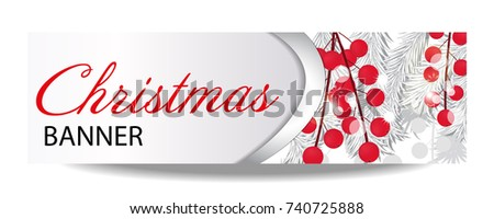 christmas and new year banner with white fir branches and holly berries vector illustration with