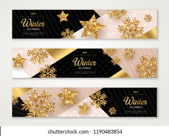 Christmas and New Year banners set with gold snowflakes and star. Vector illustration. Trendy geometric backdrop. Winter template design for invitations or vouchers.