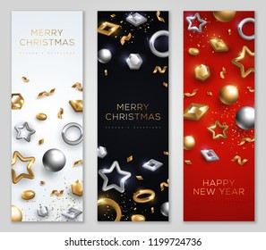 Christmas and New Year banners set with geometric gold and silver baubles. Vector Illustration.