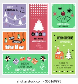 Christmas and New Year Banners Set - Vector Illustration, Graphic Design. Collection Of Greeting Cards. For Web, Websites, Print, Presentation Templates, Mobile Applications And Promotional Materials