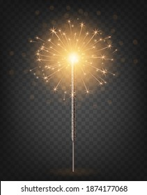 Christmas New Year bengal light. Realistic golden sparkler light isolated on transparent background. Festive bright firework. Fun decorations for celebrations and holidays, Vector illustration.